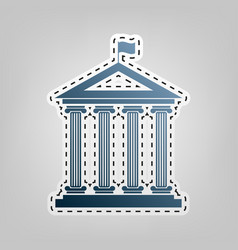 Historical building with flag blue icon vector