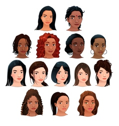 Indian black asian and latino women vector