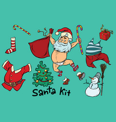 Kit undressed funny santa and christmas items vector