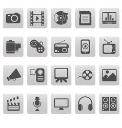 Media icons on gray squares vector
