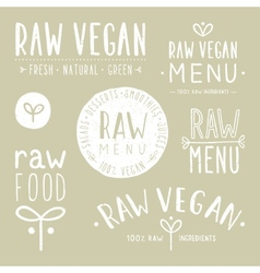 Old textured raw vegan badges vector