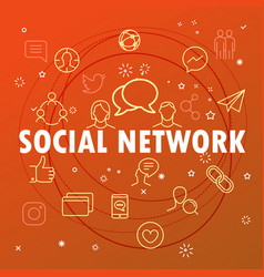 social network concept different thin line icons vector image