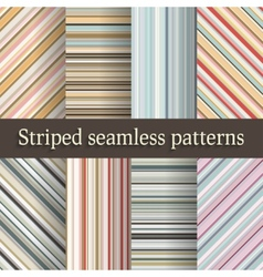 striped seamless patterns set in retro colors vector image