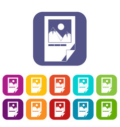 tested ink paper with printer marks icons set vector image