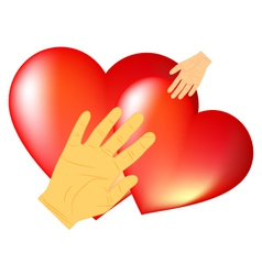 the hands and hearts vector image vector image