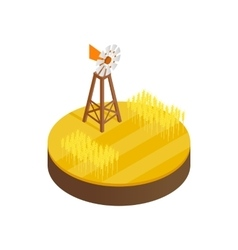 Wind generator and solar panels desert icon vector