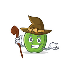 Witch green apple character cartoon vector