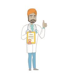 Young indian doctor holding a certificate vector