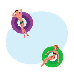 young man boy and woman girl floating on vector image vector image