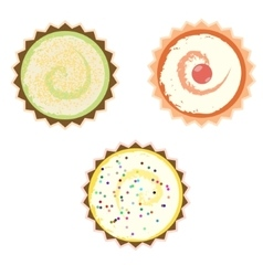 Cakes over white background vector