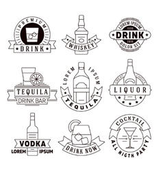 Alcohol drinks emblems badges logo set vector