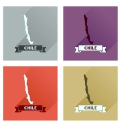 Concept flat icons with long shadow Chile map vector image