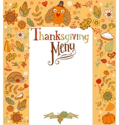 Thanksgiving menu card vector