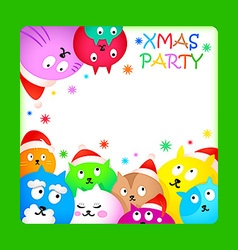 Christmas cat party vector