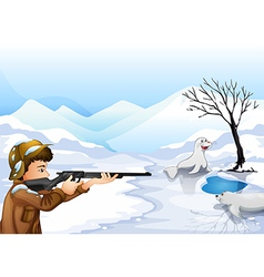 A hunter in a snowy season vector