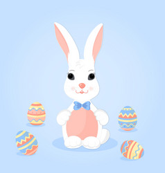 easter bunny with ears in a bow and paschal eggs vector image