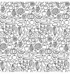Doodle vegetarian food seamless pattern vector
