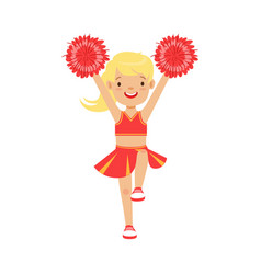 Cute little blond cheerleader girl dancing with vector