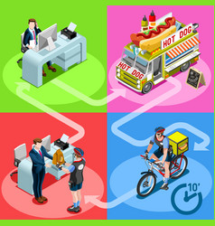 Food truck hot dog home delivery isometric people vector