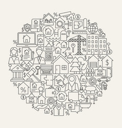 Real estate line icons circle vector