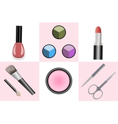 Set of objects for makeup and manicure vector