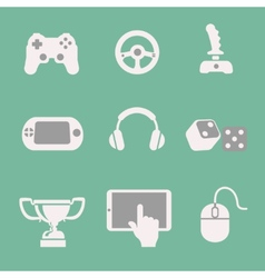 Game icons set white background vector