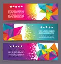 Set of modern banners with polygonal background vector