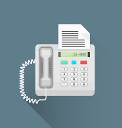 Flat style office fax phone icon vector