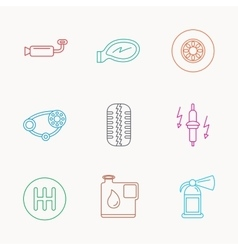 Wheel car mirror and timing belt icons vector