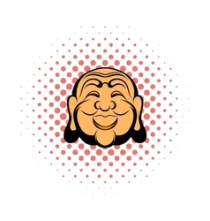 Buddha head comics icon vector
