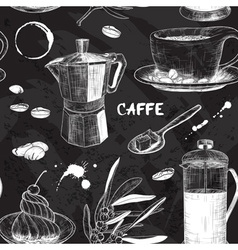 Chalkboard seamless pattern with coffee design vector