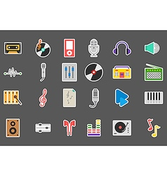 Music stickers set vector
