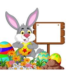 Rabbit with easter egg and blank sign vector