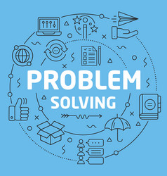 Blue line flat circle problem solving vector