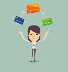 business woman with credit card to pay vector image