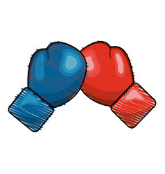 Color boxing play and gloves icon vector