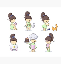 color set of cute little girls vector image