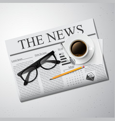 Cup of coffee newspaper and glasses vector image vector image