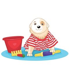 Cute dog sitting vector image