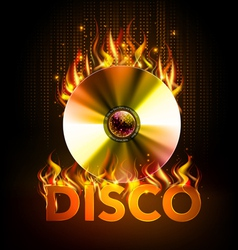 Disco fire background Disck or record vector image
