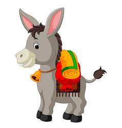 donkey carries a large bag vector image vector image