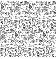 Doodle vegetarian food seamless pattern vector