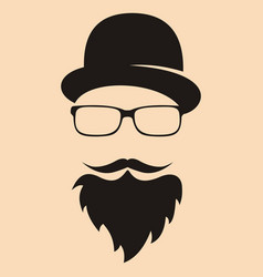 fashion silhouette hipster style hat glasses vector image