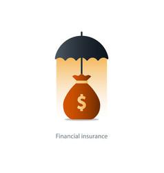 Financial security concept money bag and umbrella vector