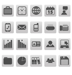 Gray business icons on gray squares vector image vector image