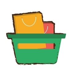 Green basket shopping bag gift sketch vector