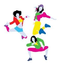 Happy color of Break dancer Silhouettes vector image vector image