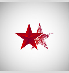 isolated two red star logo vector image