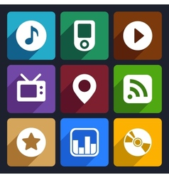 Multimedia flat icons set 1 vector image vector image
