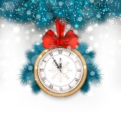 New year midnight background with clock and fir vector